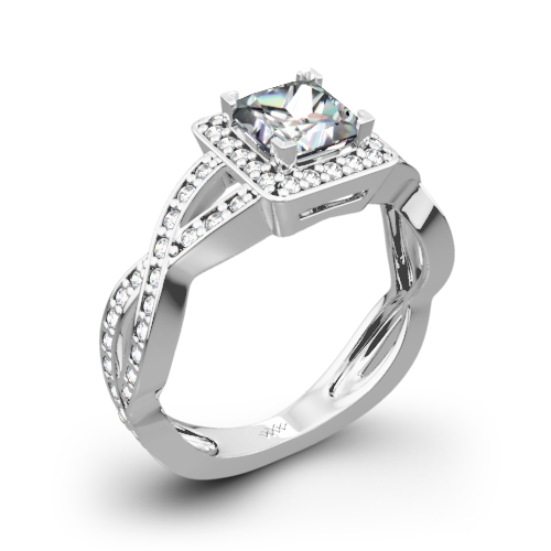 Diamond Braid Diamond Engagement Ring for Princess