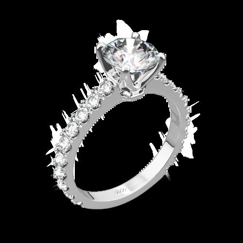 French-Set Diamond Engagement Ring
