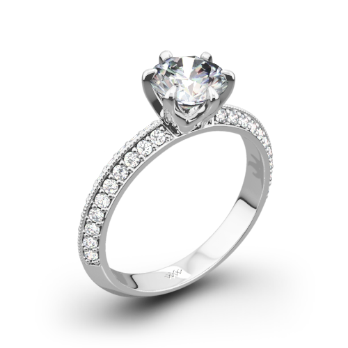 Knife-Edge Pave Diamond Engagement Ring