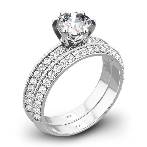 Knife-Edge Pave Diamond Wedding Set