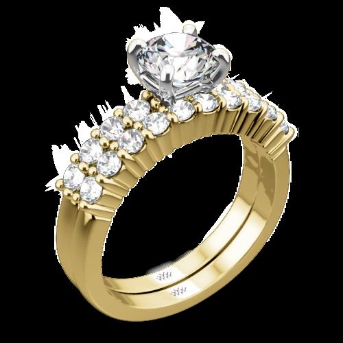 Legato Shared Prong Diamond Wedding Set