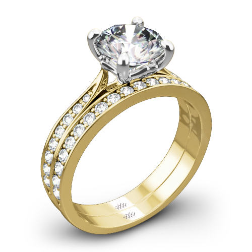 Legato Sleek Line Pave Diamond Wedding Set