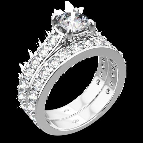 Magnolia Diamond Wedding Set