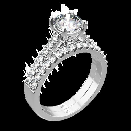 Petite Open Cathedral Diamond Wedding Set