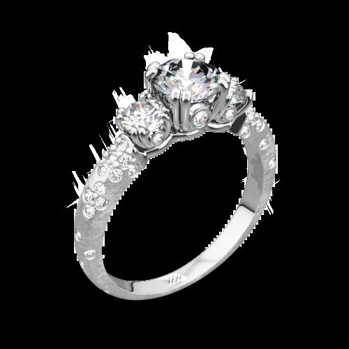 Champagne Petite Three Stone Engagement Ring