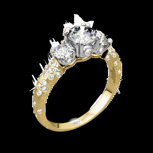 Champagne Pee Three Stone Engagement Ring