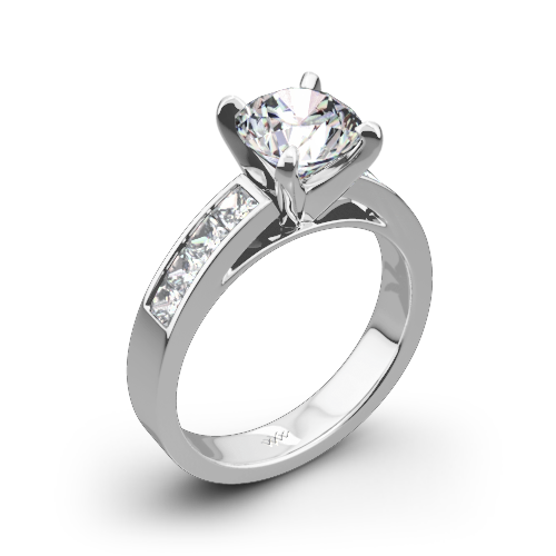 Princess Channel-Set Diamond Engagement Ring