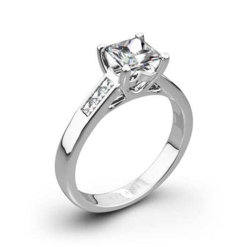 Ritani 1PCZ1193 Channel-Set Diamond Engagement Ring for Princess