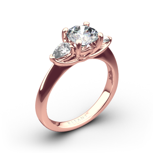 Ritani 1RZ1010P Three Stone Engagement Ring with Pear-Cut Diamonds