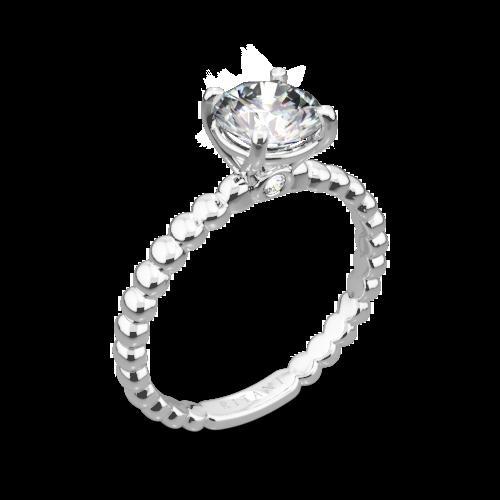 Ritani 1RZ1325 Surprise Diamond Beaded Solitaire Engagement Ring