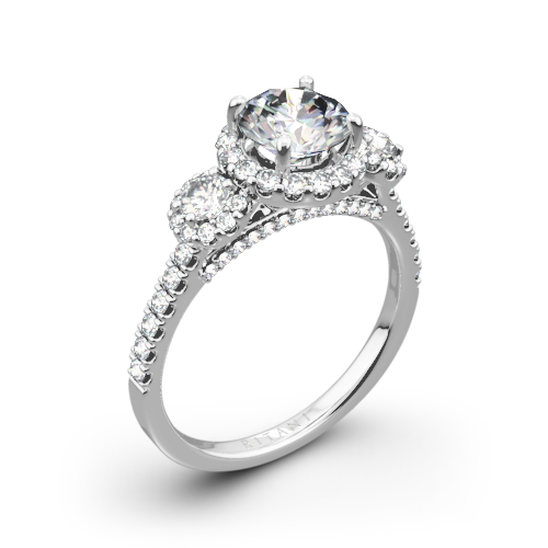 Ritani 1RZ1326 Halo Three Stone Engagement Ring