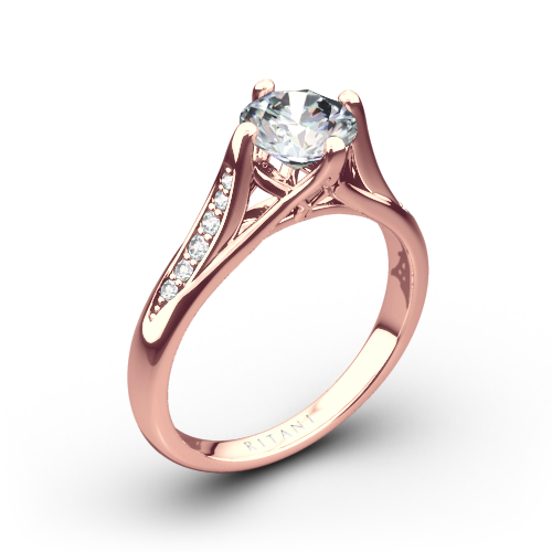Ritani 1RZ1379 Vintage Tulip Diamond Engagement Ring