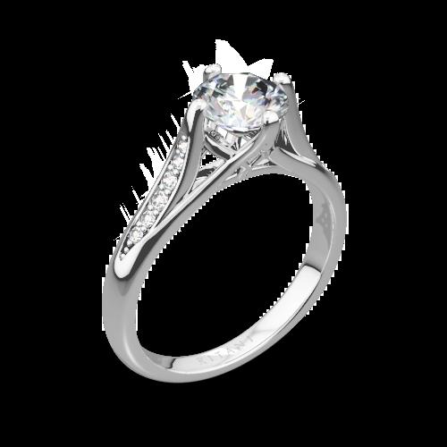 0f71c1acfc56e 18k White Gold Ritani 1RZ1379 Vintage Tulip Diamond Engagement Ring