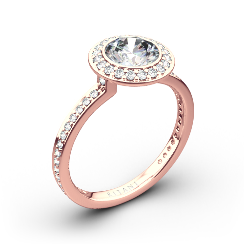Ritani 1RZ1694 Vintage Halo Micropavé Halo Diamond Engagement Ring