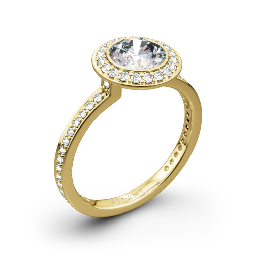 Ritani 1RZ1694 Vintage Halo Micropavé Halo Diamond Engagement Ring