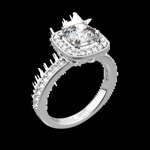 Ritani 1RZ1698 Vintage Cushion Halo Diamond Engagement Ring