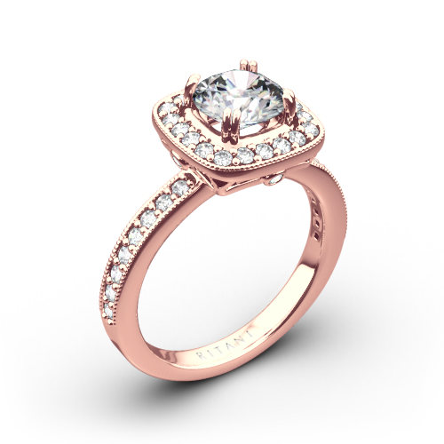 Ritani 1RZ1698 Vintage Cushion Halo Diamond Engagement Ring