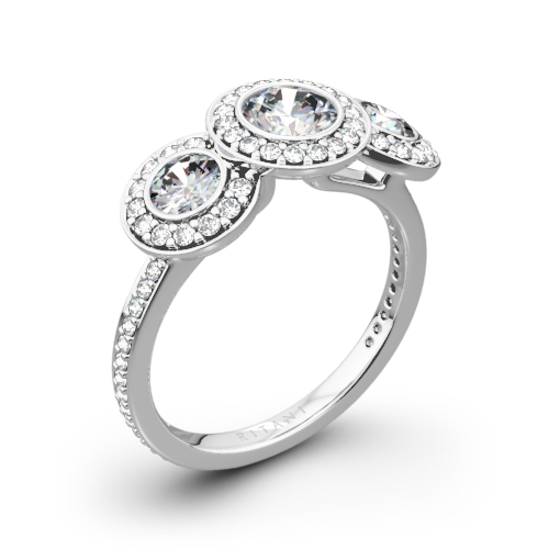 Ritani 1RZ1702 Halo Diamond Three-Stone Diamond Engagement Ring
