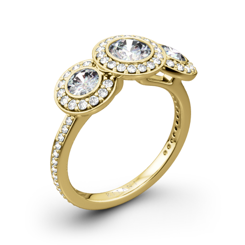 Ritani 1RZ1702 Halo Diamond Three-Stone Diamond Engagement Ring