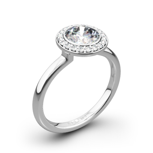 Ritani 1RZ1851 Bezel-Set Halo Solitaire Engagement Ring