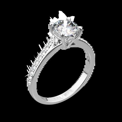 Ritani 1RZ2490 Modern Bypass Micropavé Diamond Engagement Ring