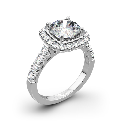 Ritani 1RZ2817 Masterwork Cushion Halo Diamond Engagement Ring