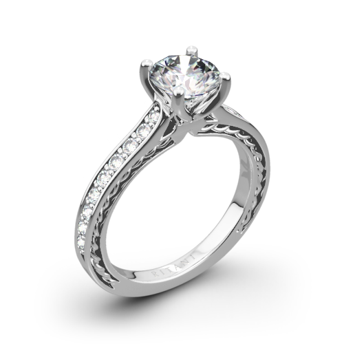 Ritani 1RZ2830 Micropavé Braided Diamond Engagement Ring