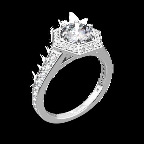 Ritani 1RZ3105 Vintage Hexagonal Halo Vaulted Diamond Engagement Ring