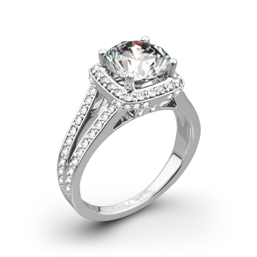 Ritani 1RZ3152 Masterwork Cushion Halo V Diamond Engagement Ring