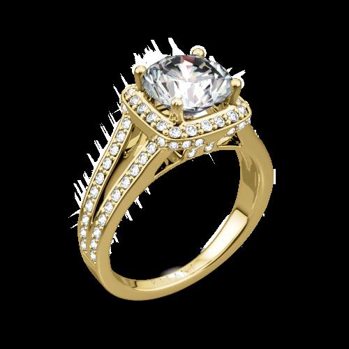 Ritani 1RZ3152 Masterwork Cushion Halo V Diamond Engagement Ring
