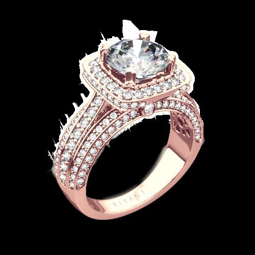 Ritani 1RZ3156 Masterwork Cushion Halo Triple Diamond Engagement Ring