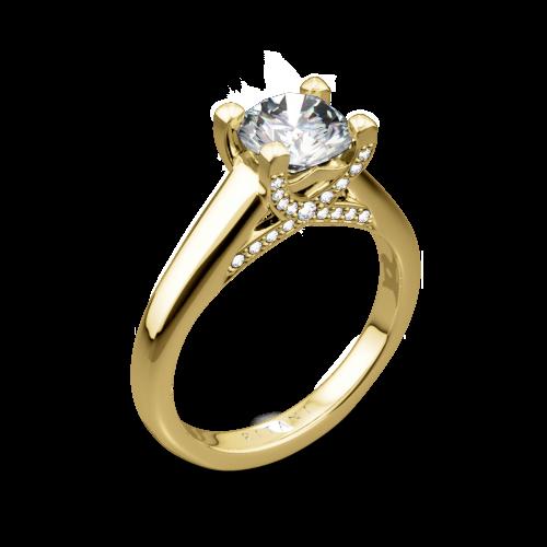 Ritani 1RZ3245 Pavé Tulip Solitaire Engagement Ring