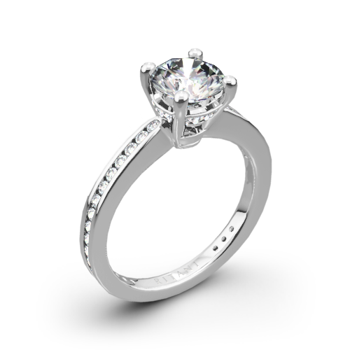 Ritani 1RZ3447 Tapered Channel-Set Diamond Engagement Ring