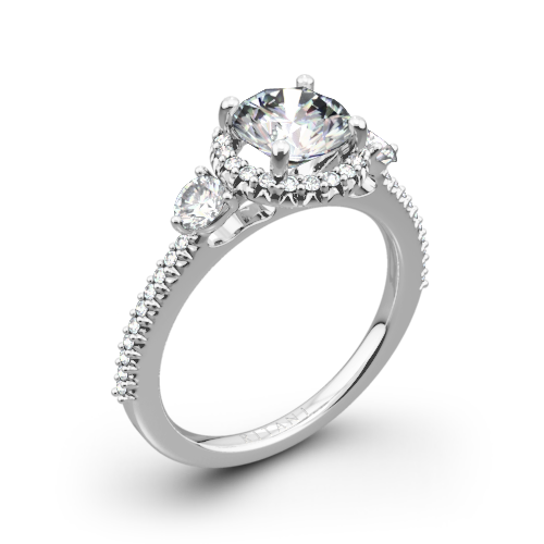 Ritani 1RZ3701 Halo Three Stone Engagement Ring