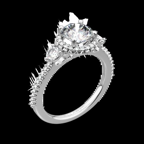 Ritani 1RZ3701 Halo Three Stone Engagement Ring