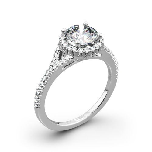 Ritani 1RZ3766 French-Set Halo Diamond V Diamond Engagement Ring