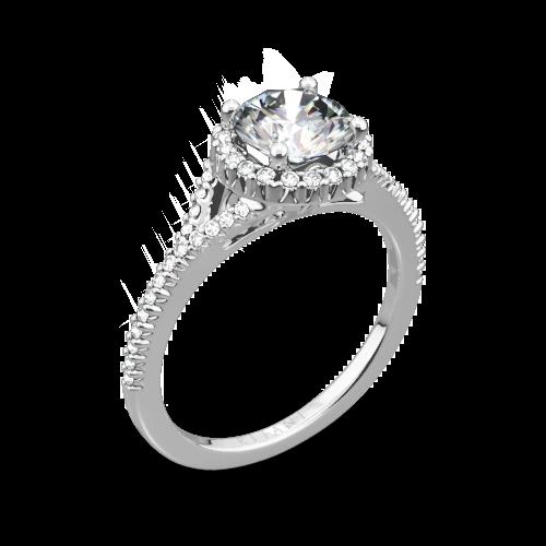 Ritani 1RZ3766 French-Set Halo Diamond V Diamond Engagement Ring