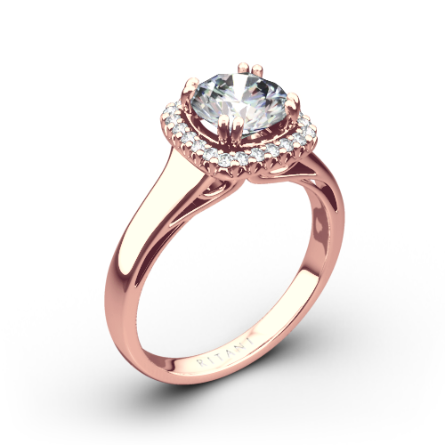 Ritani 1RZ3780 Cushion French-Set Halo Solitaire Engagement Ring