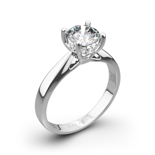 Ritani 1RZ7244 Tapered Surprise Diamonds Solitaire Engagement Ring