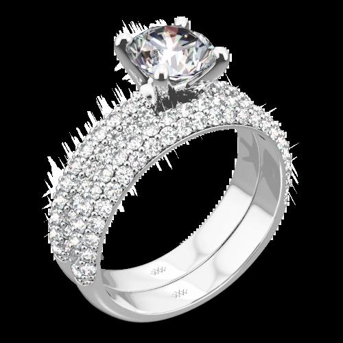 Rounded Pave Diamond Wedding Set