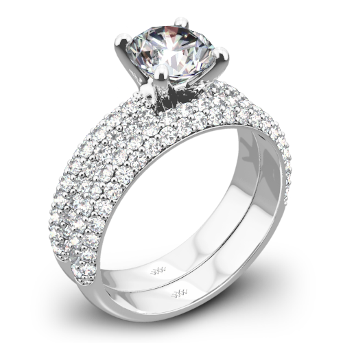 Rounded Pave Diamond Wedding Set