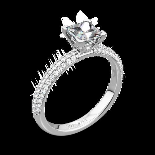 Simon G. LP1935-D Delicate Diamond Engagement Ring for Princess
