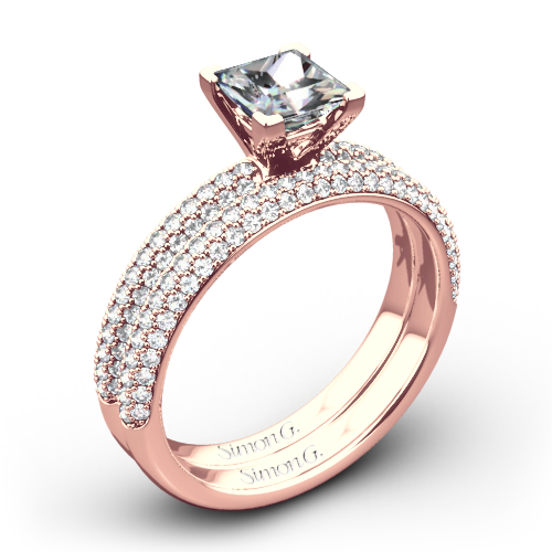 Simon G. LP1935-D Delicate Diamond Wedding Set for Princess