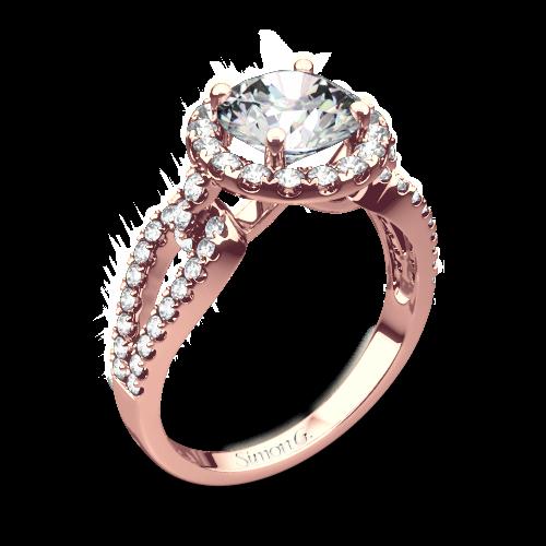 Simon G. LP2027 Passion Halo Diamond Engagement Ring