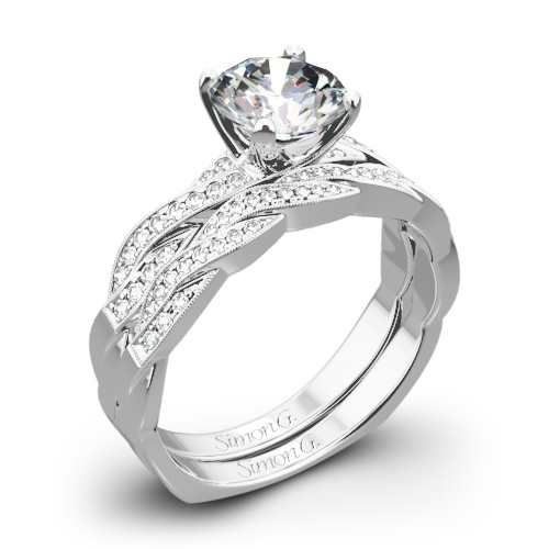 Simon G. MR1498-D Delicate Diamond Wedding Set