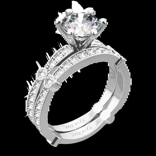 Simon G. MR1546 Delicate Diamond Wedding Set