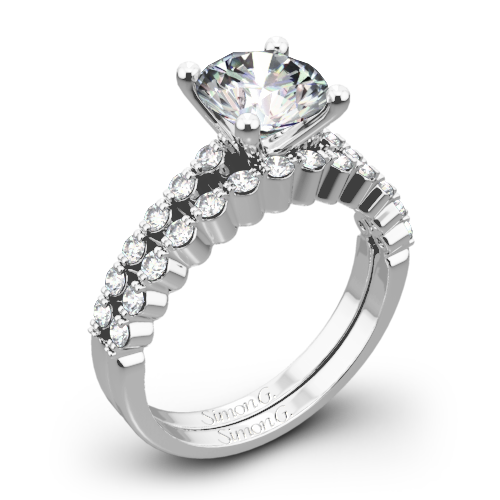 Simon G. MR2173 Delicate Diamond Wedding Set