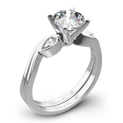 Simon G. MR2342 Dutchess Three Stone Wedding Set