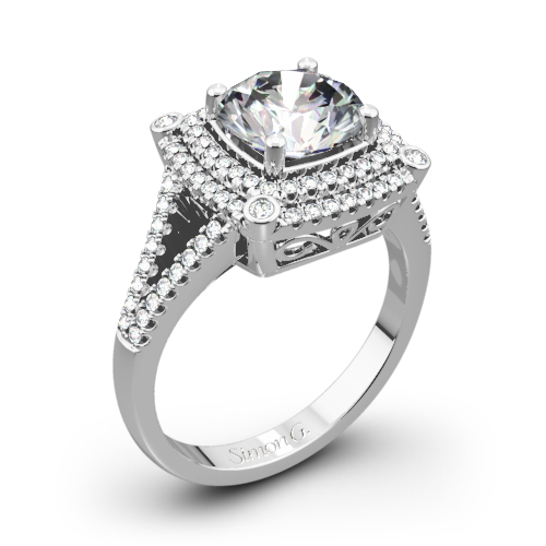 Simon G. MR2378-A Passion Double Halo Diamond Engagement Ring