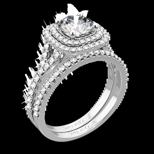 Simon G. MR2459 Passion Halo Diamond Wedding Set